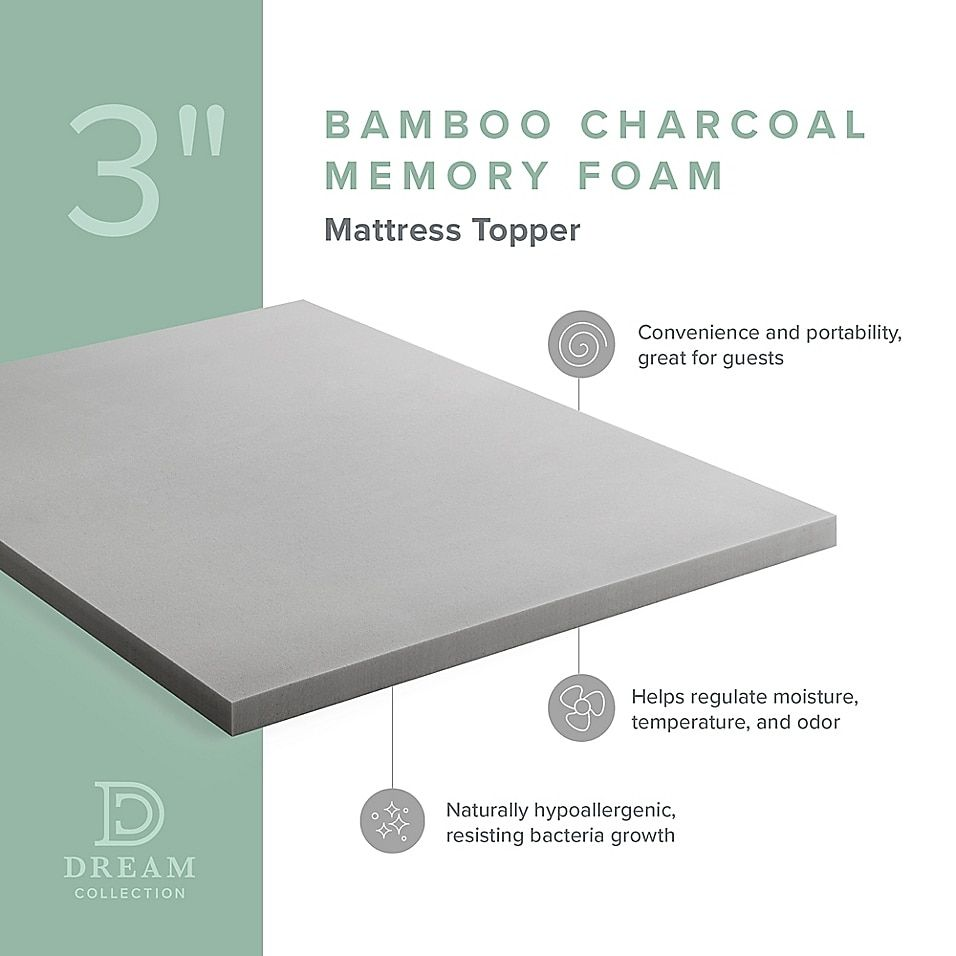 Dream Collection By Lucid 3 Charcoal Memory Foam Mattress Topper Bed Bath Beyond In 2021 Memory Foam Mattress Topper Foam Mattress Topper Foam Mattress