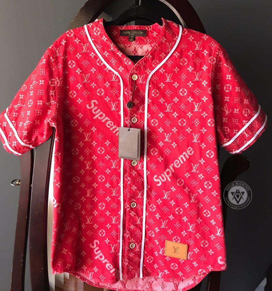 cb4742c385b Supreme Louis Vuitton Jacquard Denim Baseball Jersey Red Size XS - S +  Receipt