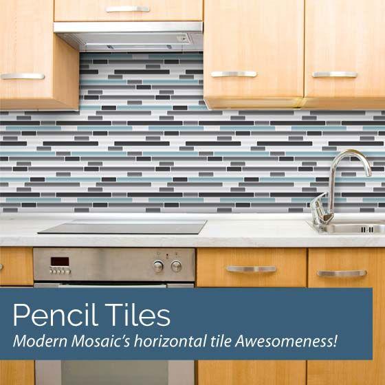 Modern Mosaics Pencil Mosaic Tile Wall Decals Vinyl Backsplash Rental Kitchen Removable Wallpaper For Renters