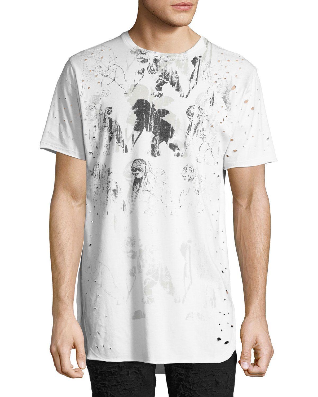 Waning Moon Distressed T-Shirt, White