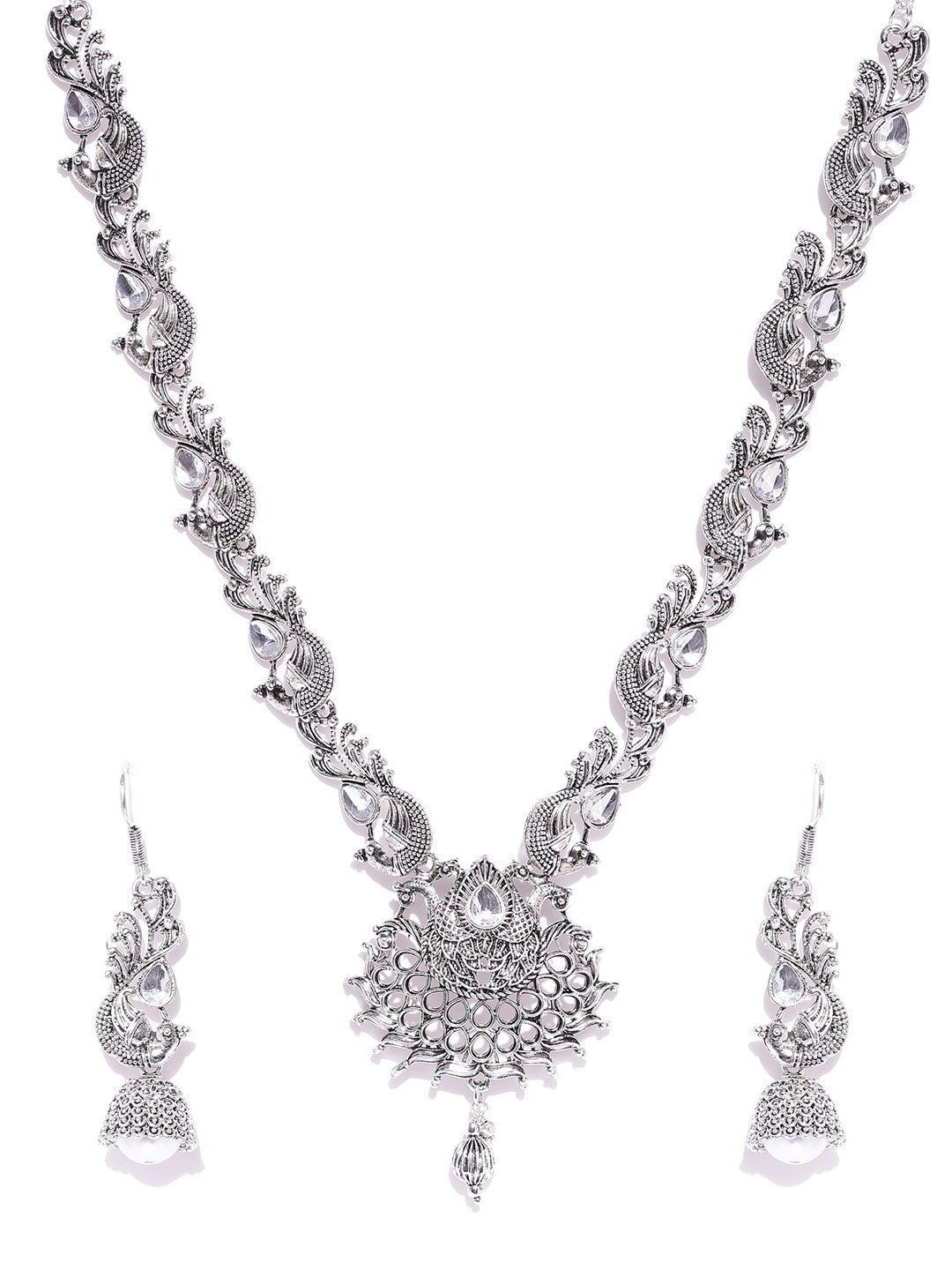 Zaveri Pearls Antique Silver Tone Peacock Inspired Necklace Set