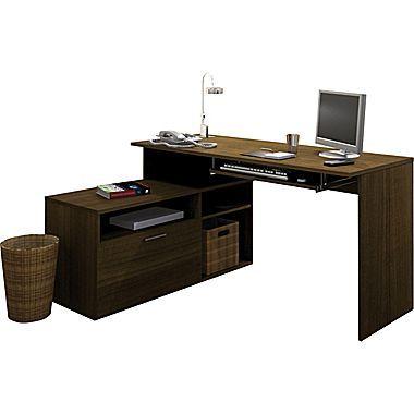 Bestar Modula L Shaped Workstation Grey Brown Teak Brown And
