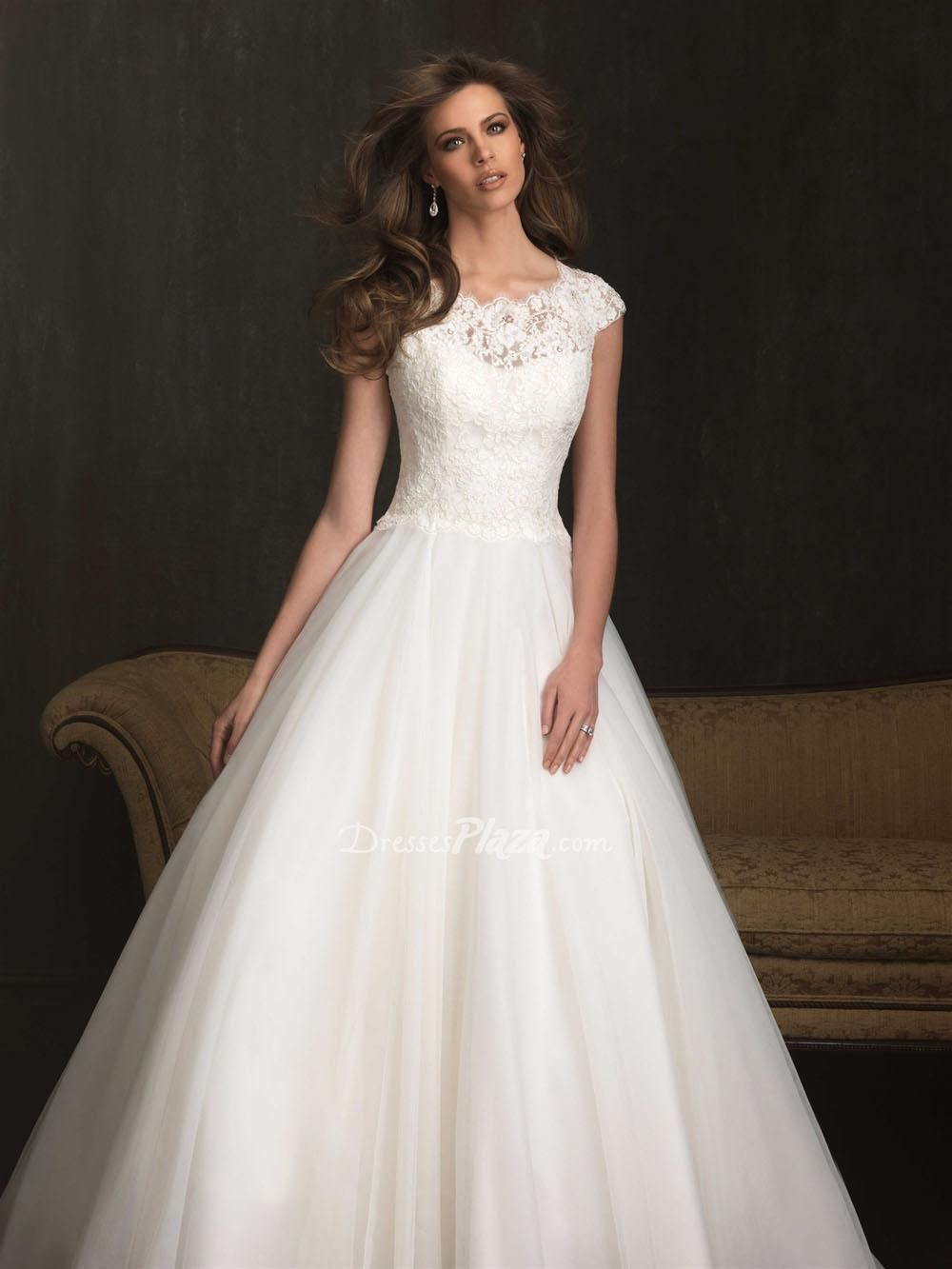 So beautiful. ball gown cap sleeve jewel neck lace bodice illusion ...