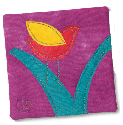 bird branch mini quilt with free-motion quilting candy glendening