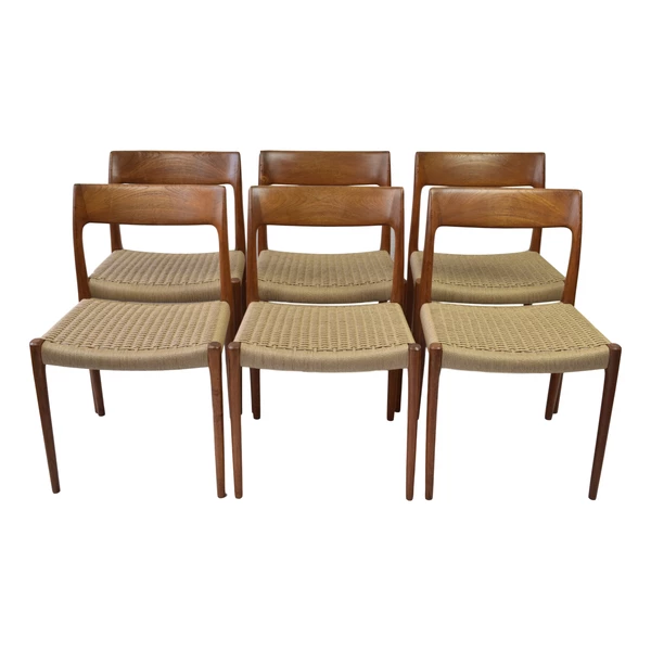 A Set Of Six Danish Mid Century Dining Chairs Model 77 By Niels O Moller This Model Was Designed Niels O Moller In 1959 And Was Produced By J L Mo
