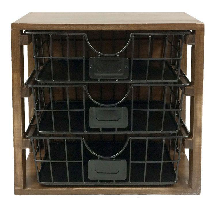 Rectangle Wood Metal Desk Organizer W 3 Drawers Wood And Metal