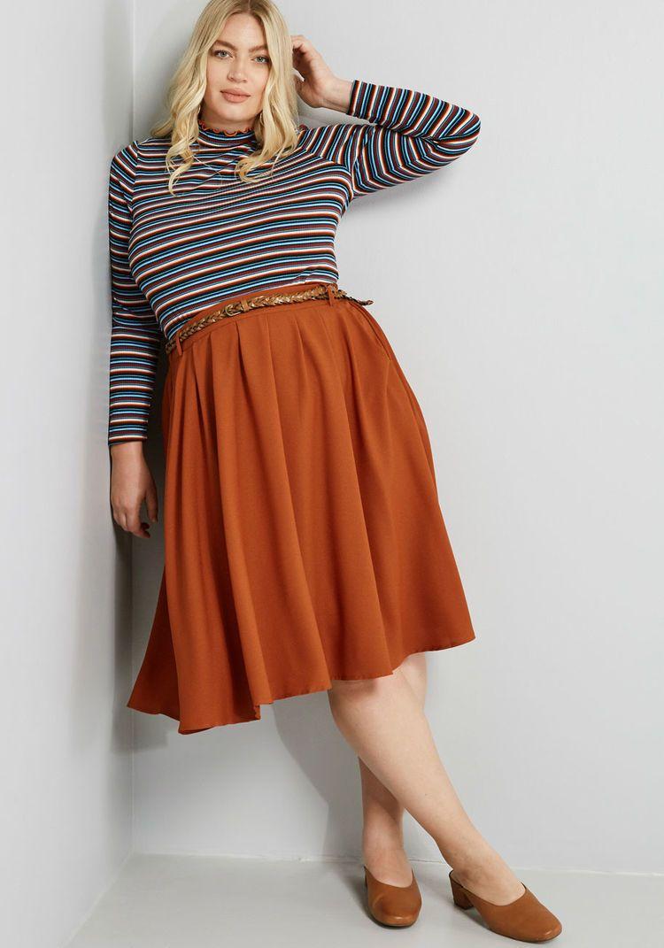 5481b54cd2 Breathtaking Tiger Lilies Midi Skirt in 2019 | Skirts | Plus size ...