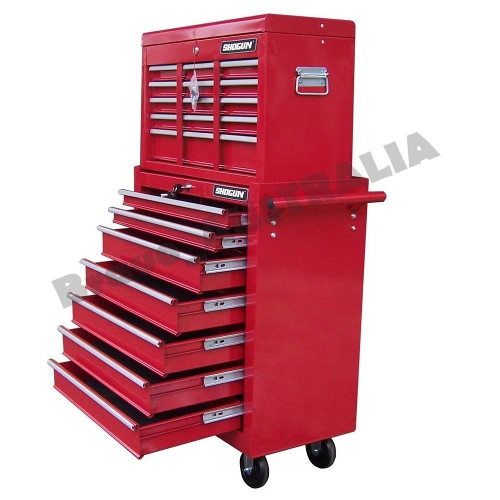 16 Drawer Home Mechanic Tool Box Chest Cabinet Trolley Roller ...