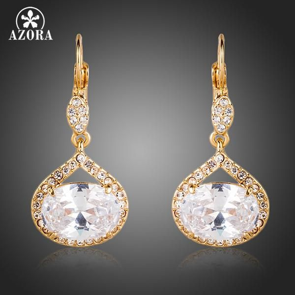 AZORA Gold Color Top AAA+ Cubic Zirconia Egg Shaped Surround Tiny Crystal Drop  Earrings TE0146 00e52d2863fd