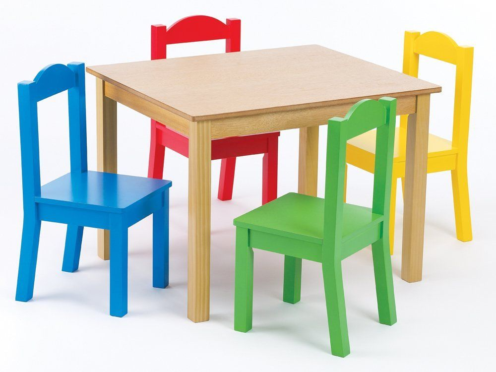 Amazon.com   Tot Tutors Kidsu0027 Table And 4 Chair Set, Primary Wood   Tot  Tutors Childrens Table And Chair Sets