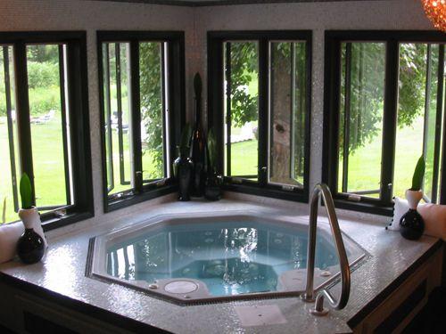 Pin By Cara Jacobsen On Bathrooms Hot Tub Room Indoor Pool Design Indoor Hot Tub