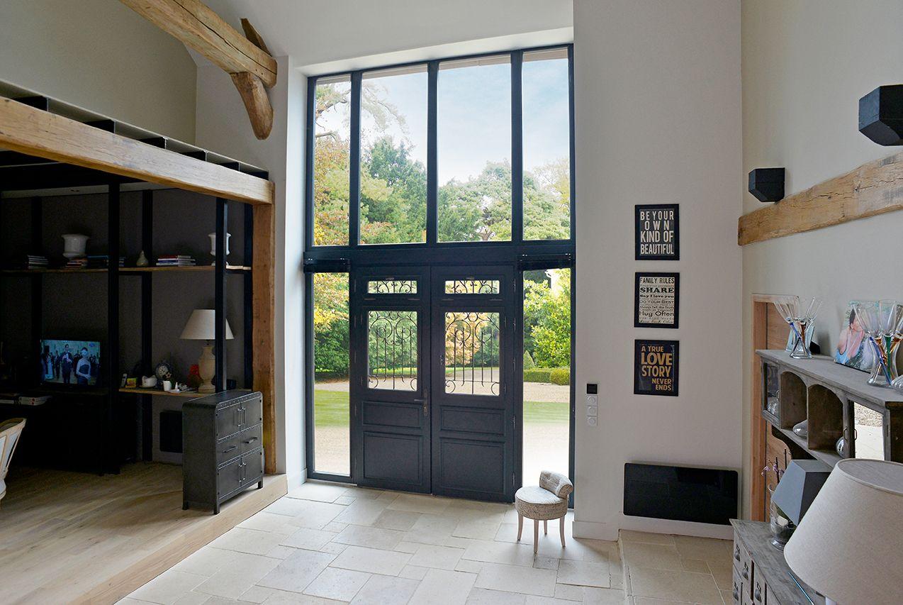porte d 39 entr e bois classique mi vitr e une entr e. Black Bedroom Furniture Sets. Home Design Ideas
