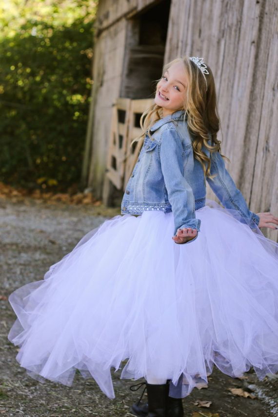 Diamond White  Flower Girl Tulle Skirt in by princessdoodlebeans