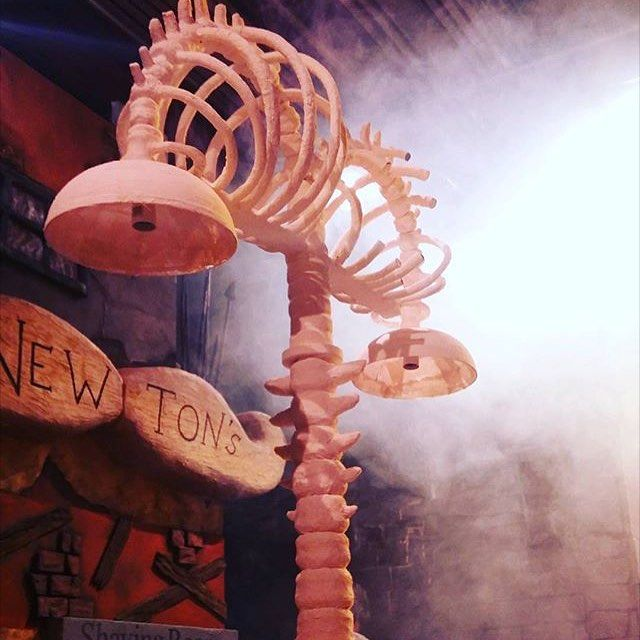 Lamp done by @strangebritprops and Newton's is @soul_design_for_stageandscreen  and @helenacooling's building. The smoke and lighting bring it all together! #ccad #ccadwip #production #promarkers #productiondesign #design #art #college #artcollege #university #degree #illustration #set #costume #tv #film #behindthescenes #prop #street #hartlepool #artlepool #cleveland #northeast