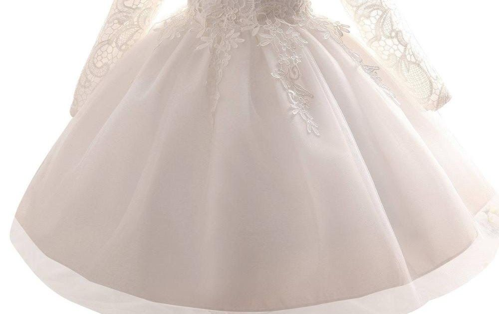 ab1a49b4fc79b Buy Online White Christening Baby Girl Dress Wedding Long Sleeve 1 ...