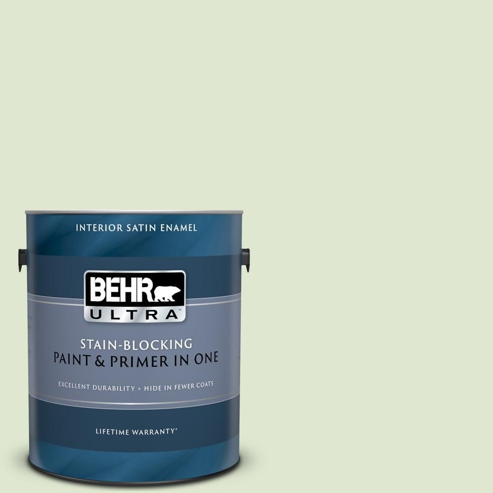 Behr Ultra 1 Gal M370 2 Cabbage Leaf Satin Enamel Interior Paint And Primer In One 775001 In 2020 Interior Paint Paint Primer Exterior Paint