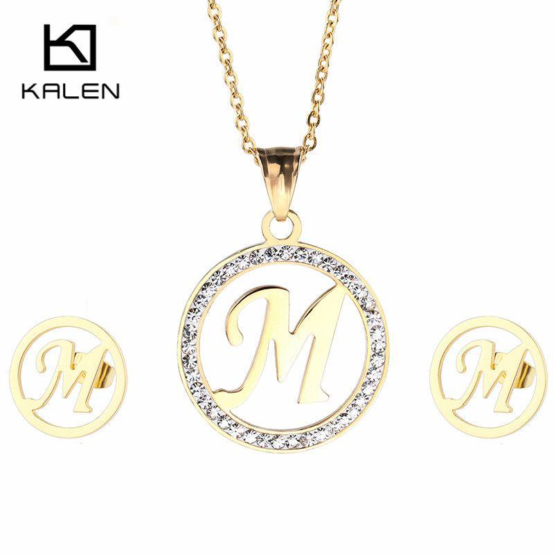 Kalen 새로운 저렴한 스테인레스 스틸 두바이 골드 도금 자본 편지 오전 펜던트 목걸이 & 귀걸이 보석 세트 선물