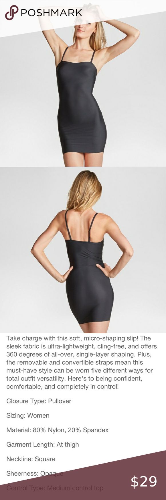 Spanx Nwt Black Sleek Slip Size L