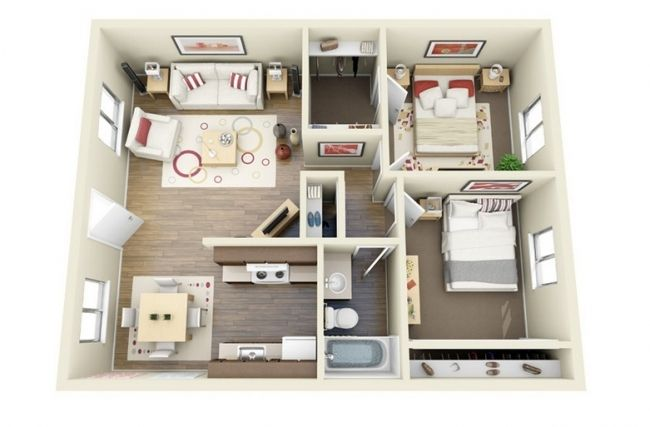50 plans en 3d d 39 appartements et maisons page 2 sur 6 house sims house and house layouts - Lay outs idee klein appartement ...