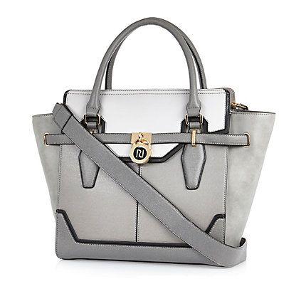 Grey padlock winged tote handbag €60.00