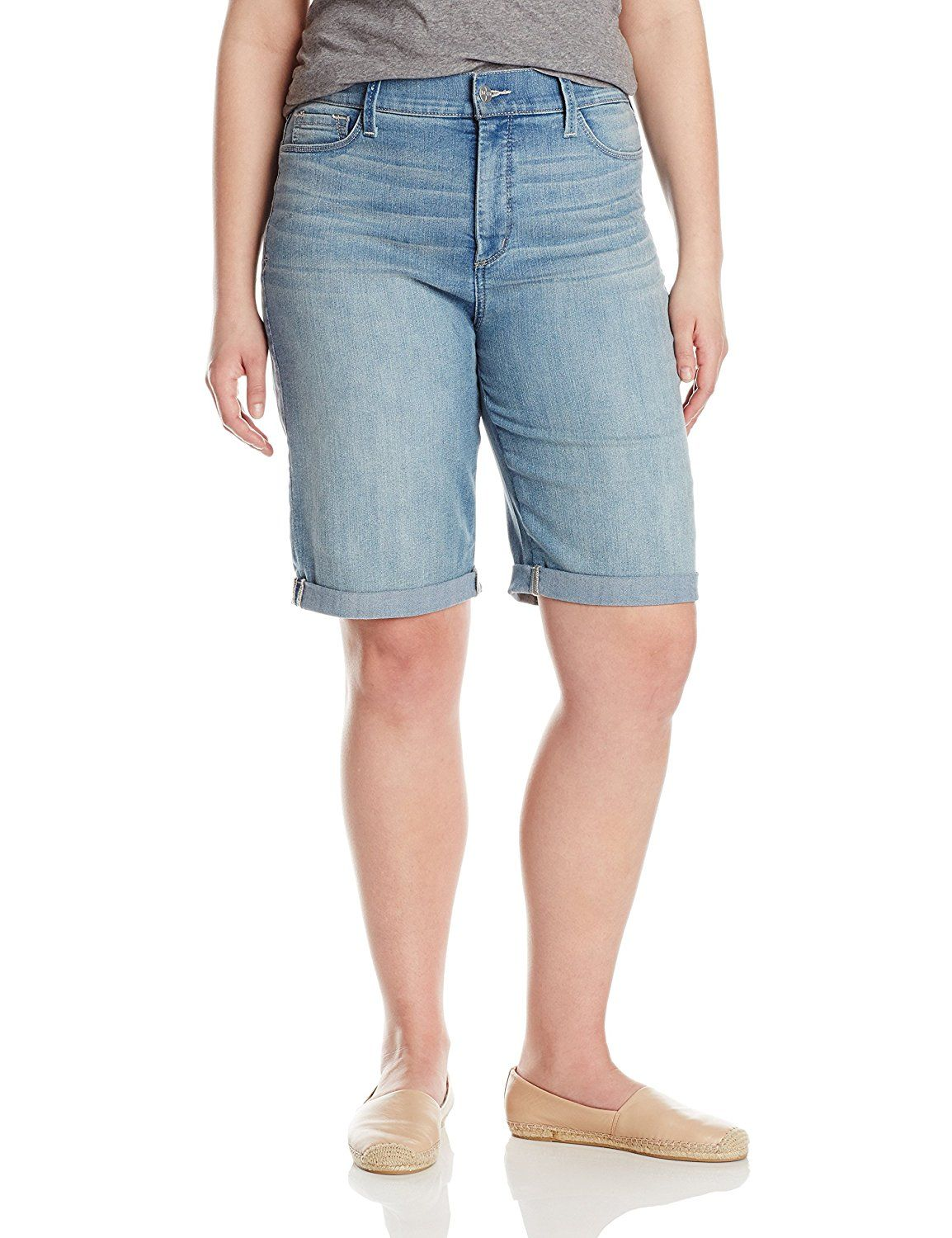 dbe963bca7567 NYDJ Women s Plus-Size Briella Roll Cuff Shorts In Manhattan Beach --  Continue to the product at the image link.