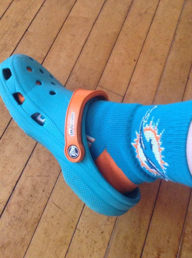 MD sock & croc! Crocs, Miami dolphins, Dolphins