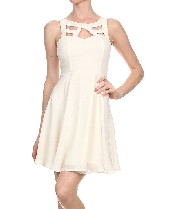 Look at this Kokette Ivory Lace-Back Cutout Dress on #zulily today!