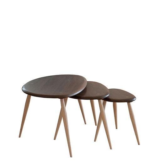 Originals Walnut Beech Nest Of Tables Luxury Coffee Table
