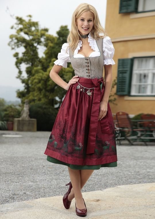 rotes dirndl wiesn oktoberfest trachtenmode heidi rote dirndl. Black Bedroom Furniture Sets. Home Design Ideas