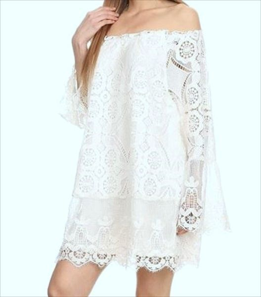 43d28534750424 PLUS SIZE BLOUSE & TOPS WHITE CROCHET LACE EMBROIDERED FLORAL LONG SLEEVE  NEW-3X #Unbranded #Tunic
