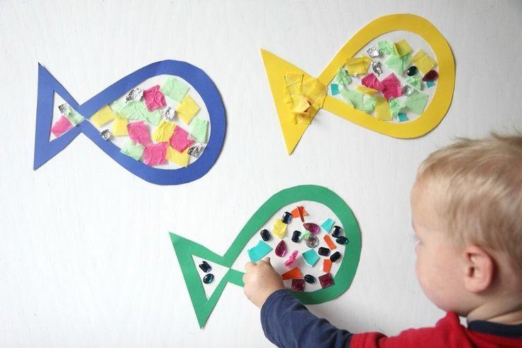 Fisch als sommerliche Bastelidee für Kleinkinder   - Winter -