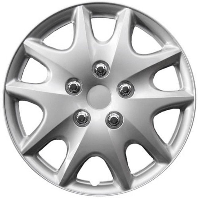 Design KT100915S_L ABS Silver 15-inch Hub Caps (Set of 4) (KT100915S_L Designed Hub Cap made of ABS Plastic)