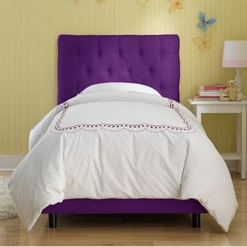 Purple Bed Headboard And Frame Tufted Bed Upholstered