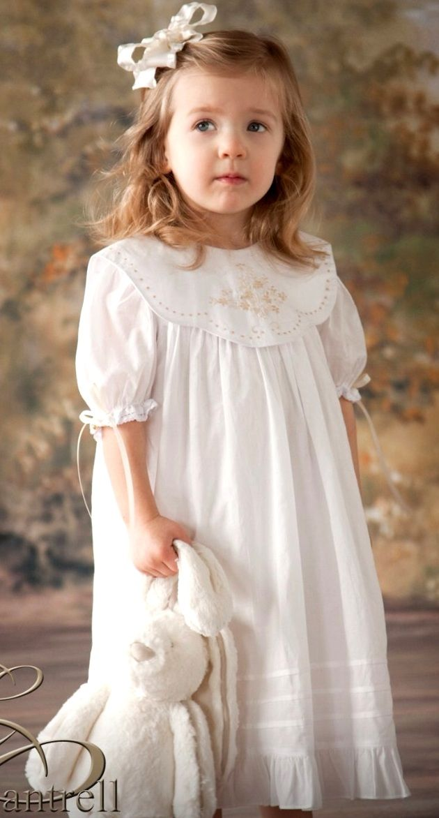 732ef5643 Girl's Heirloom Dress in White With Ecru Embroidery by Rosalina ...