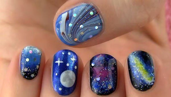 Galaxy And Full Moon Nail Art Get The Tutorial