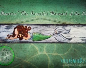 Decorative Wall Decor, Old recycled barn wood, Mermaid Signs by SheilaSmithDesigns