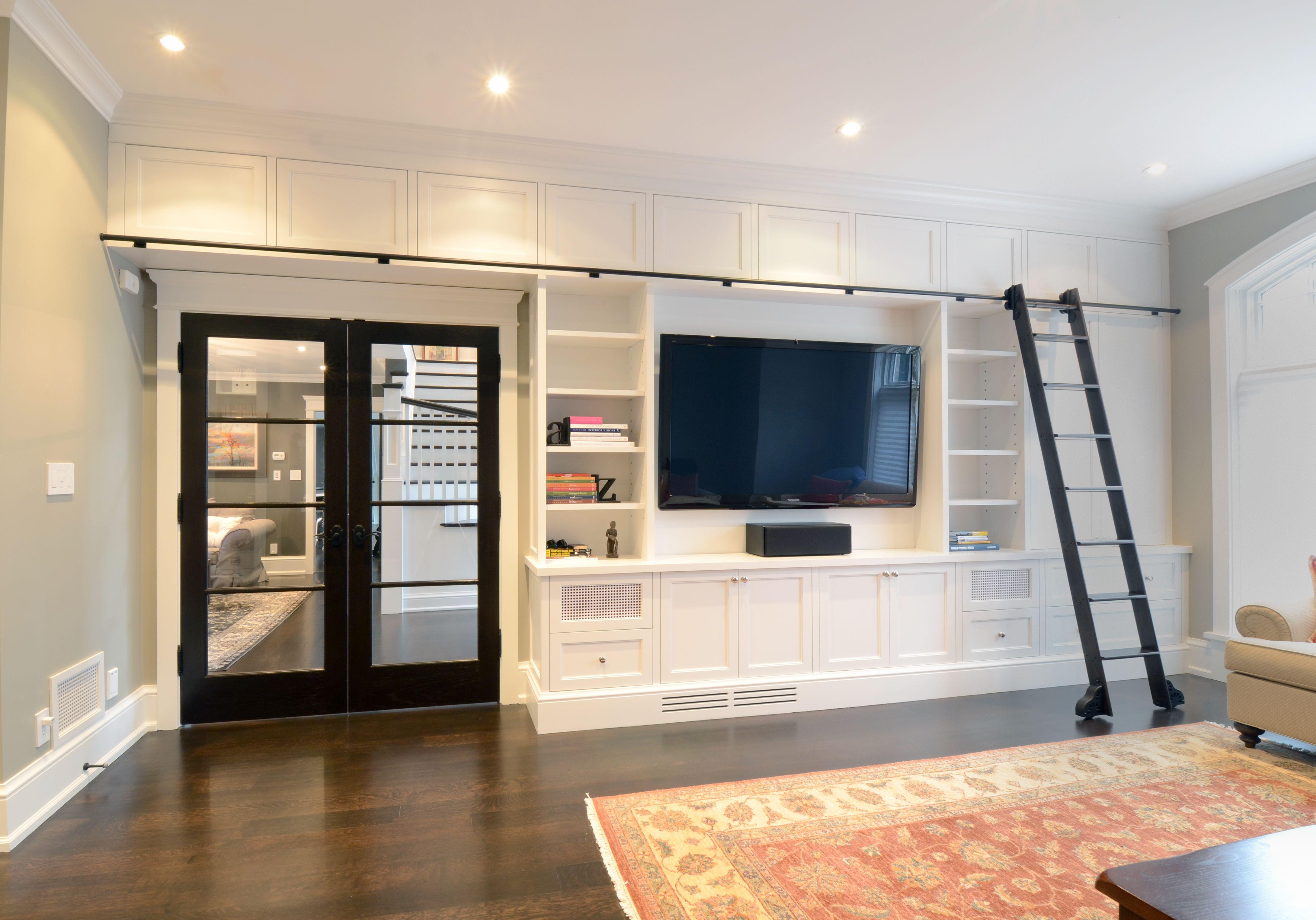 Tv unit with sliding ladder for bookshelves wall units pinterest