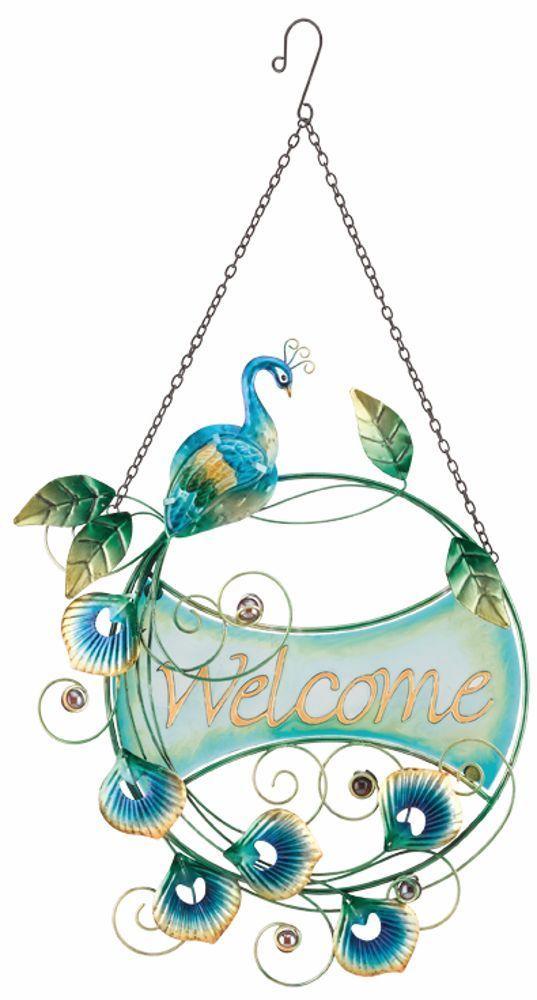 Peacock Circle Hanging Welcome Sign Glass U0026 Metal Bird Wall Door Garden  Decor | Home U0026