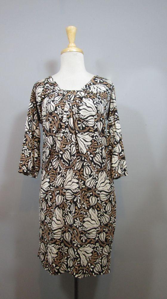 DVF Diane Von Furstenberg Lovely Black Patterned 3/4 Sleeve ELENA Dress sz 2 #DianevonFurstenberg #Shift #Casual