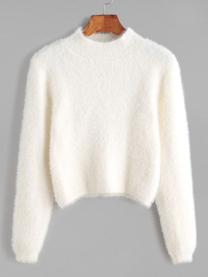 White Crew Neck Crop Fuzzy Sweater | Clothes, Winter and Wardrobes