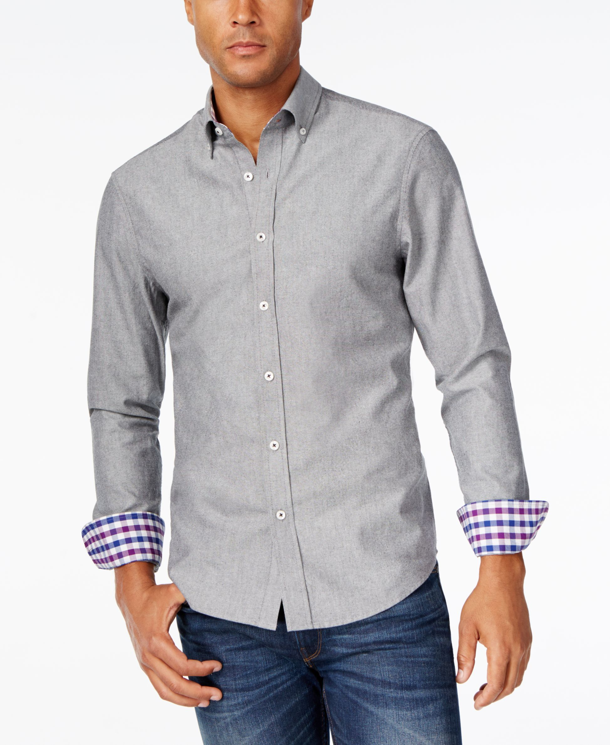 474aa20fffc Park West Men's Contrast-Cuff Long-Sleeve Shirt, Created for Macy's &  Reviews - Casual Button-Down Shirts - Men - Macy's