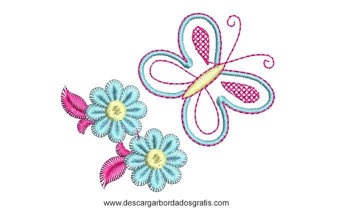 Descargar gratis un lindo diseño bordado de Mariposa con Flores ...
