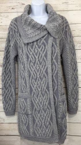 NEW Aran Mor Gray Irish Wool Cable Knit Long Cardigan