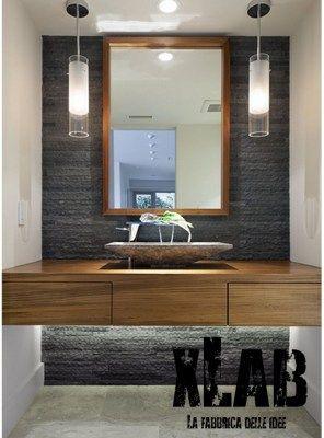 Mobile sospeso da bagno in legno massello made in italy | Bagno ...