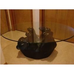 Attractive Glass Top Bear Coffee Table   Black Bear Coffee Table W/glass Top