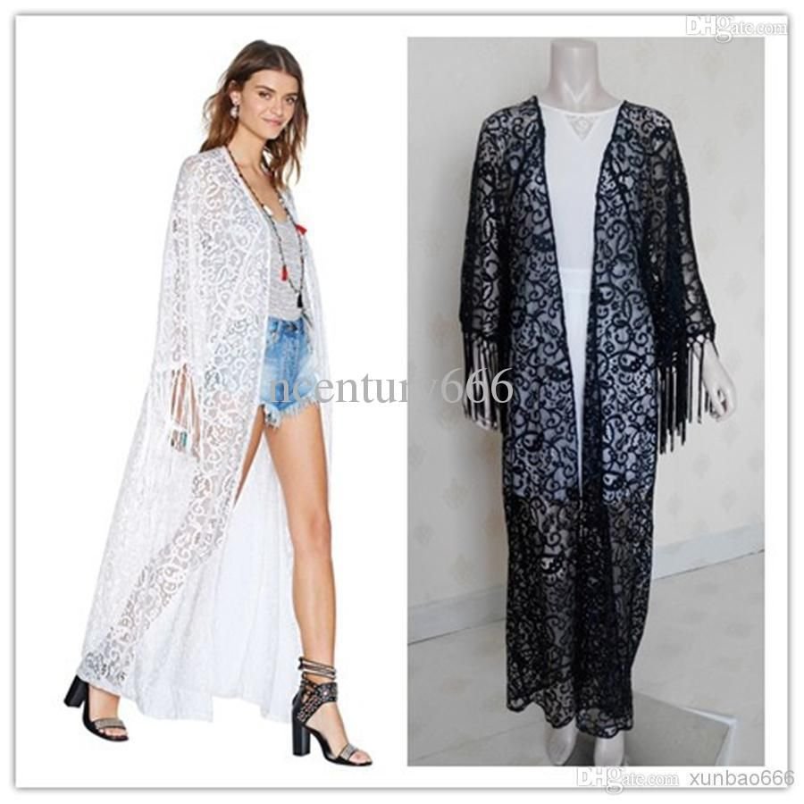 Women Maxi Kimono Coat Long Sleeve Blusas Embroidered Shirt Bud ...