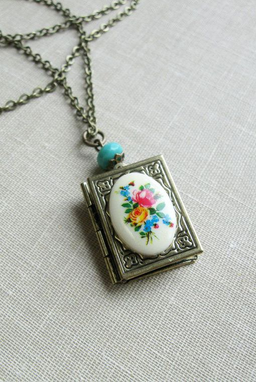 Cameo locket necklace book locket flowers cottage chic items similar to cameo locket necklace book locket flowers cottage chic on etsy aloadofball Images