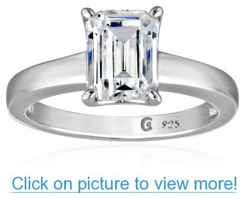Platinum Plated Sterling Silver Swarovski Zirconia 1.5cttw Emerald Solitaire Engagement Ring