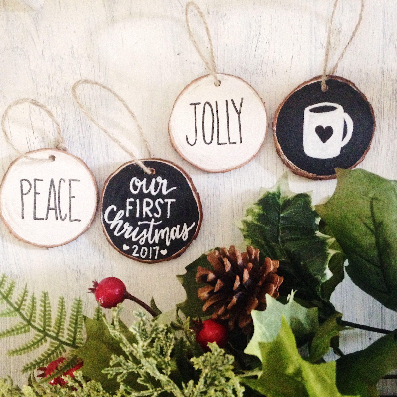Set Of 4 Wood Slices Rustic Christmas Ornaments  Chalkboard