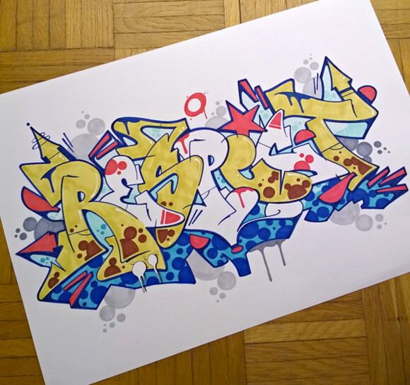 full color drawing 'Respect' | Graffiti alphabet, Colorful ...